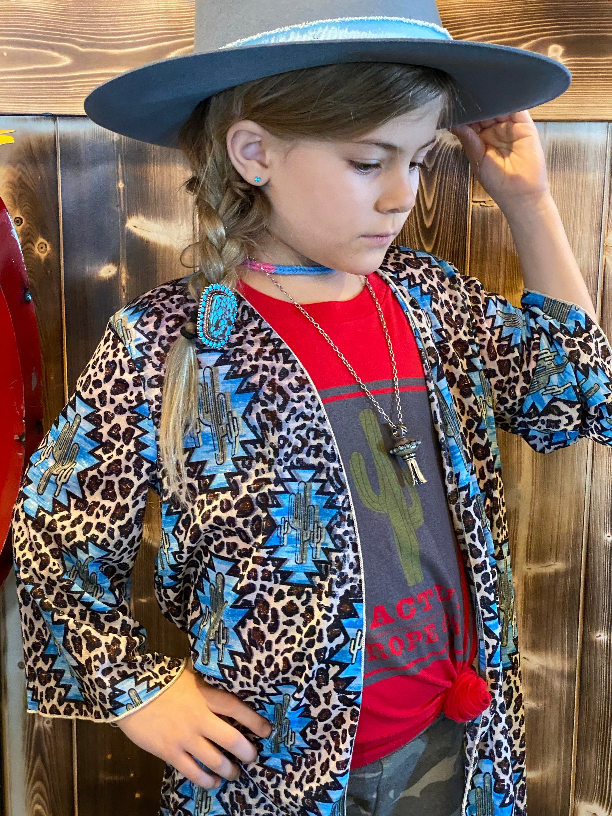 Cactus cheetah tween duster-Kids Fashion-Branded Envy