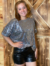 Ladies Silver Sequin SS Top