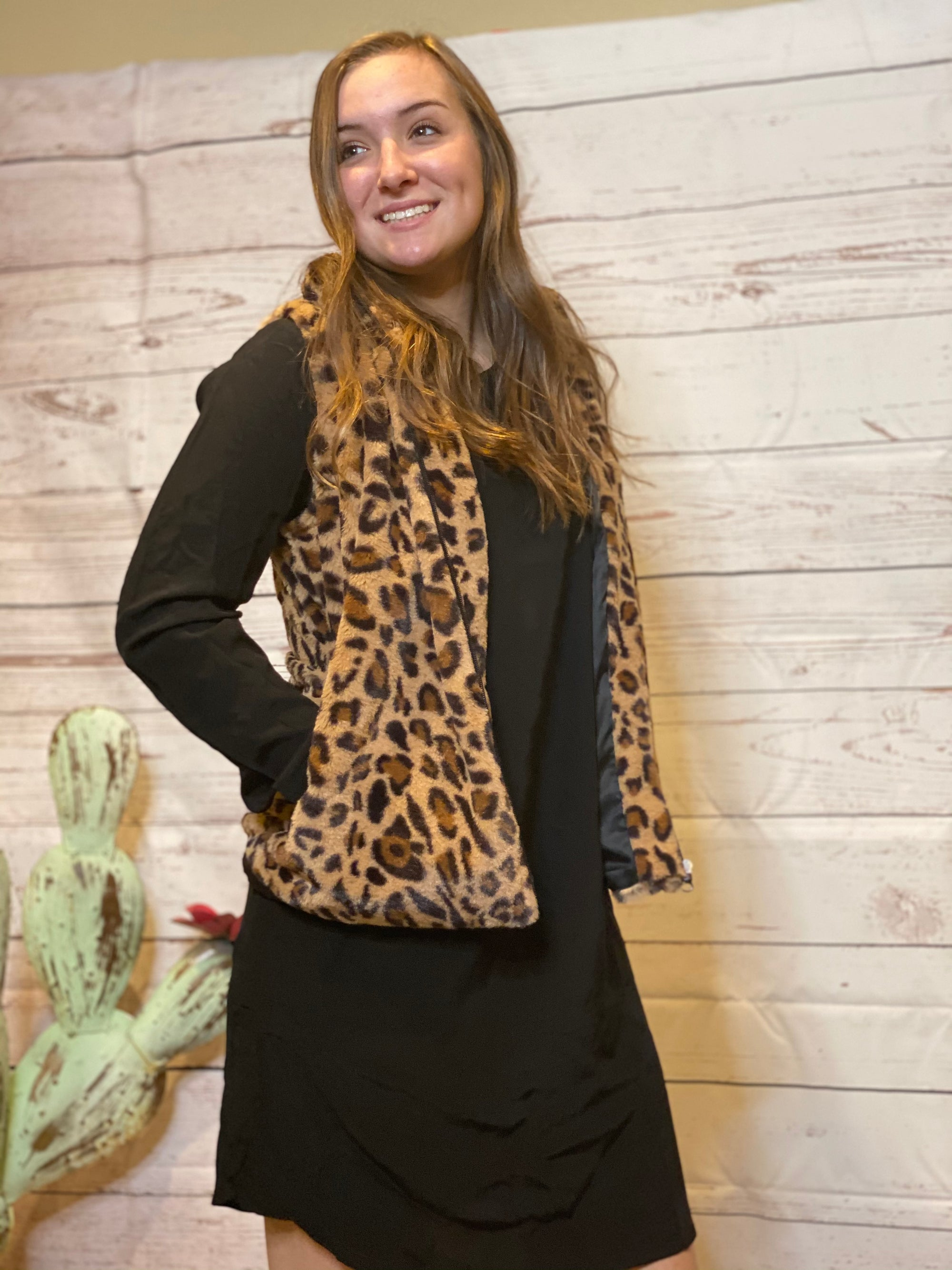 Faux leopard fur vest - brown-vest-Branded Envy