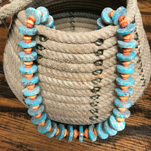 Genuine turquoise & orange pinwheel necklace