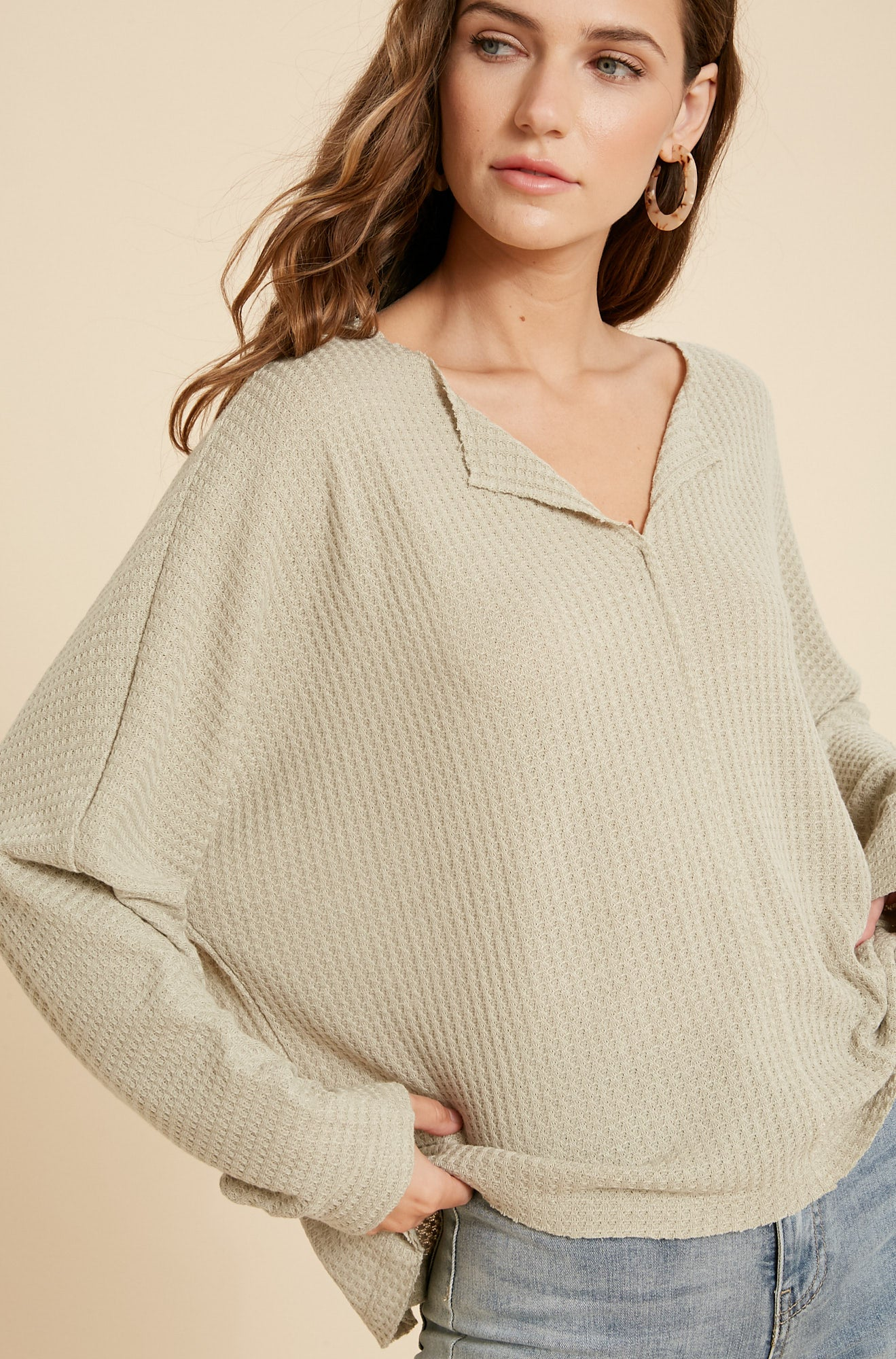 Whisper v neck knit top - Matcha-sweater-Branded Envy