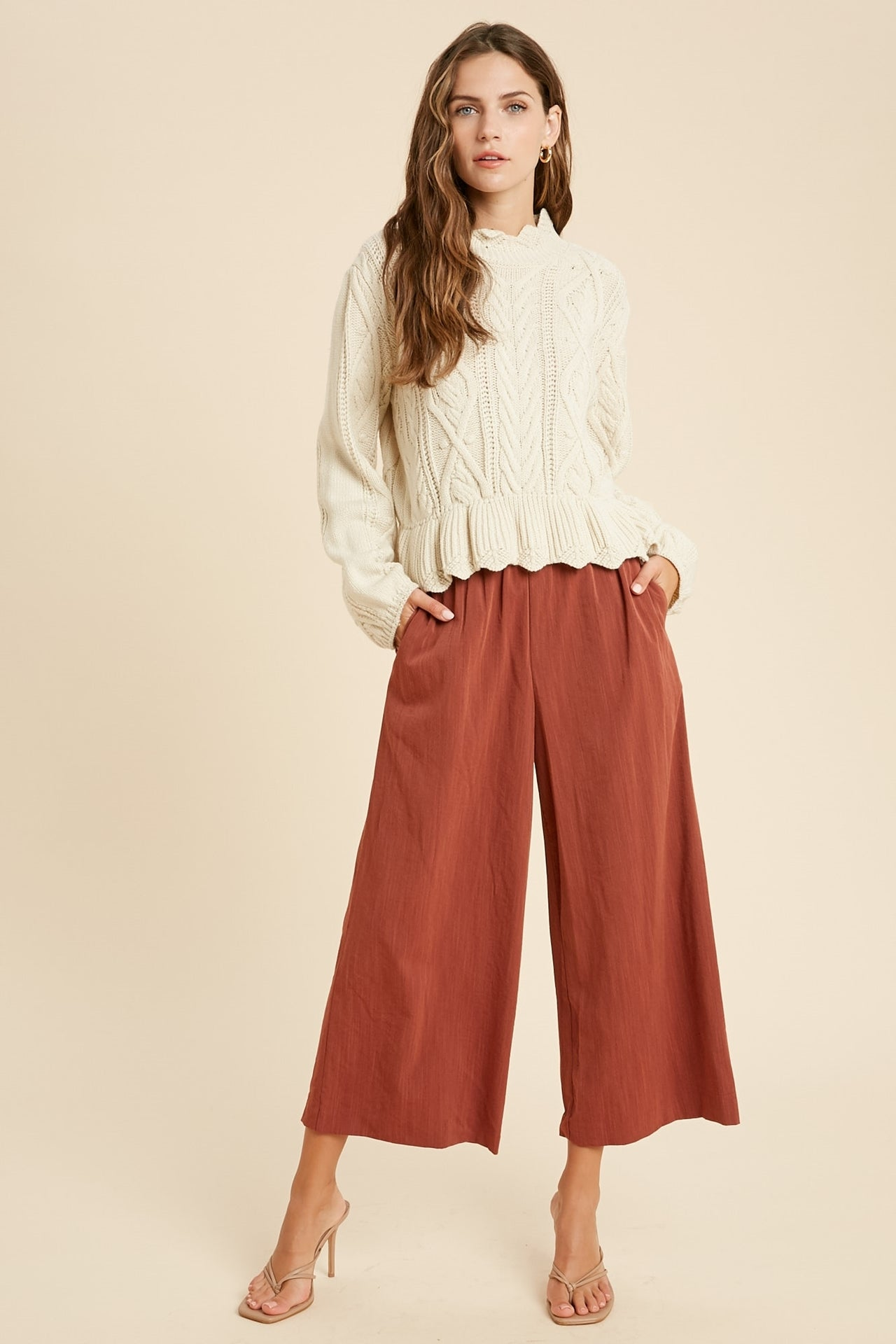 Weldon Shirred Waist Wide Leg Pants - Rust-Pants-Branded Envy