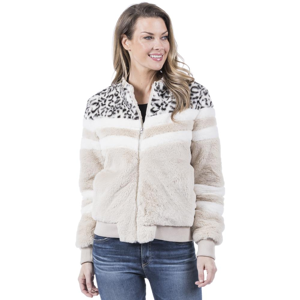 Snow Leopard Chevron Sherpa Jacket-Jacket-Branded Envy