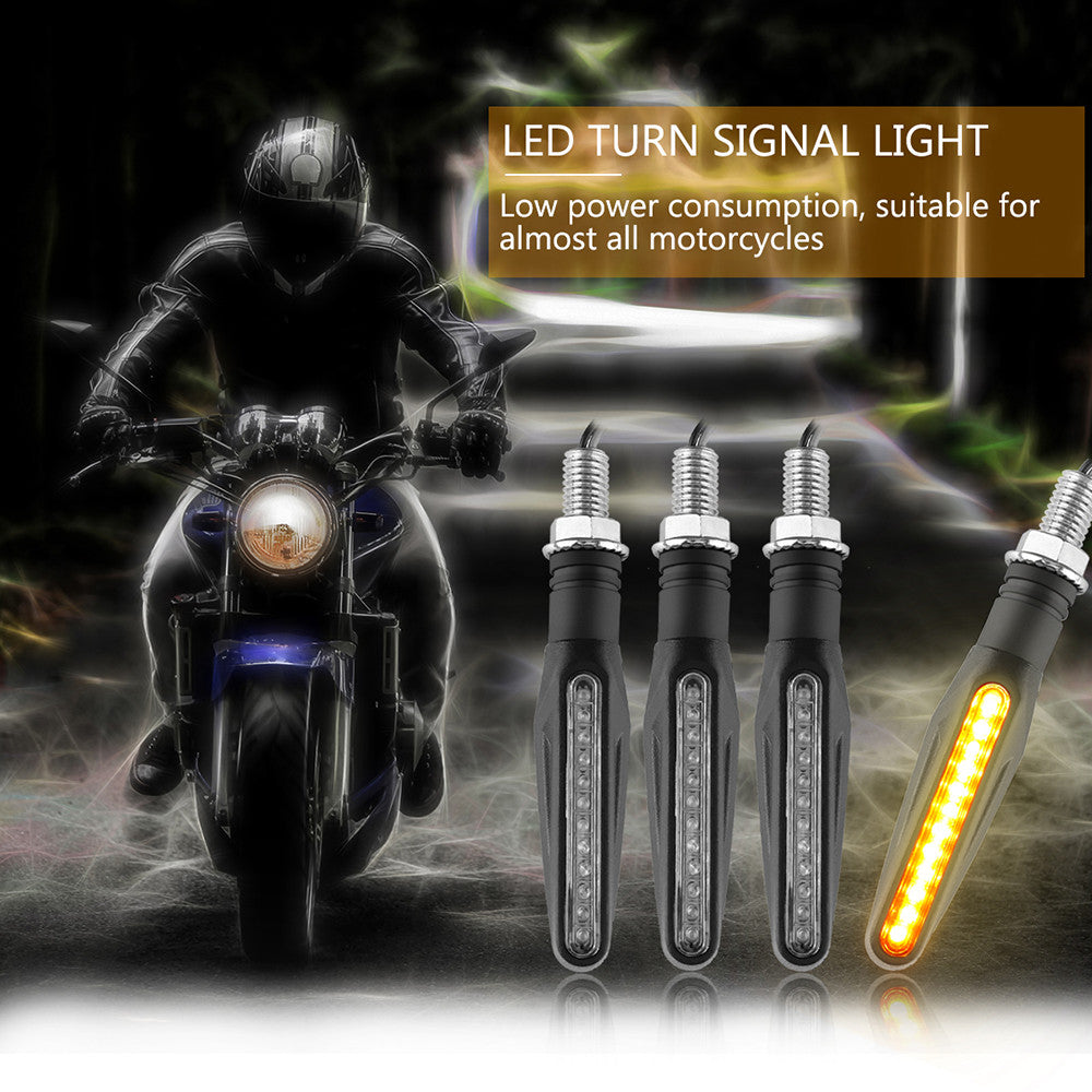 4pcs Universal Motorcycle 12 Led Turn Signal Indicator Light Suzuki Modification Flexible Amber Blinker Lamp For