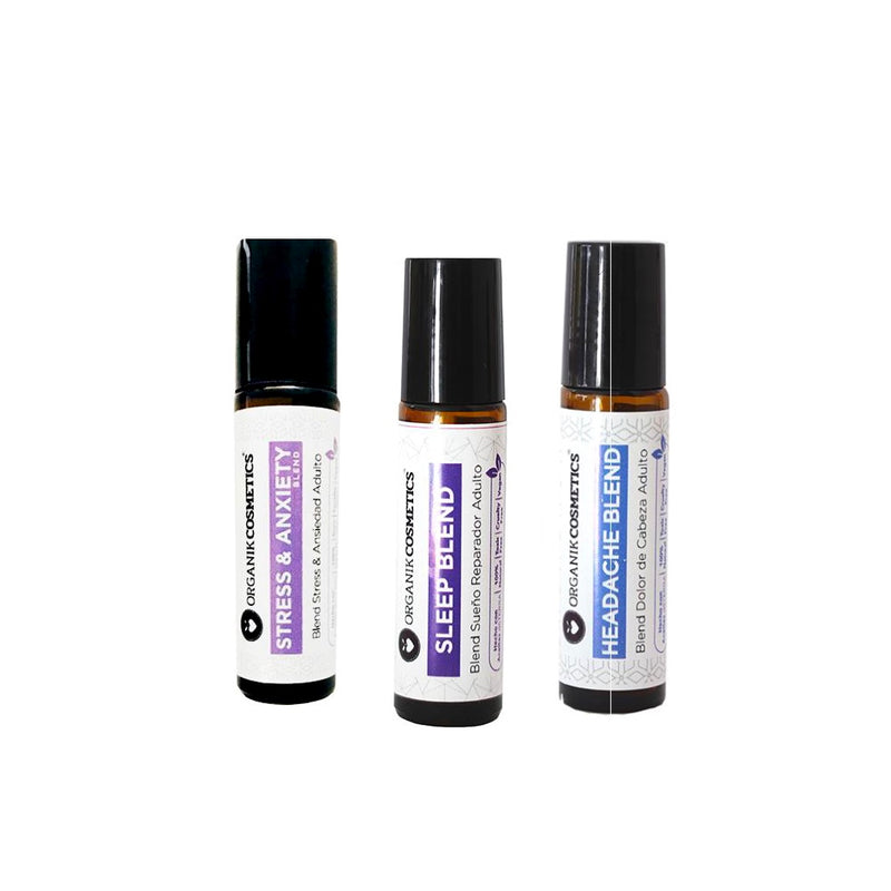 Organik Cosmetics - Pack 3 Roll On - Stress & Anxiety, Sleep Blend, Headache Blend