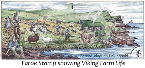 Faroe stamp showing viking Farm life