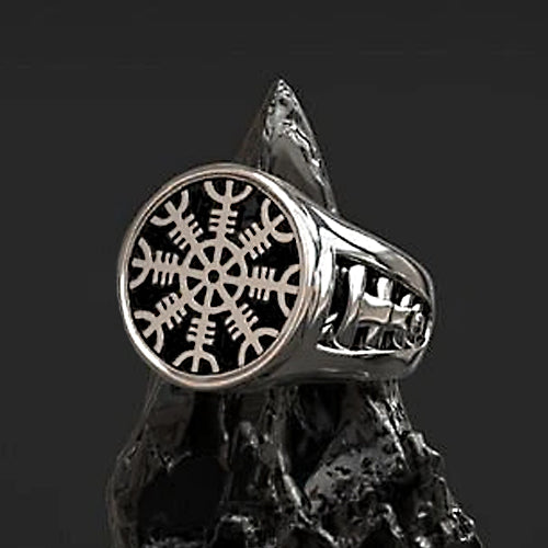 Heavy Helm of Awe Ring - Sterling Silver
