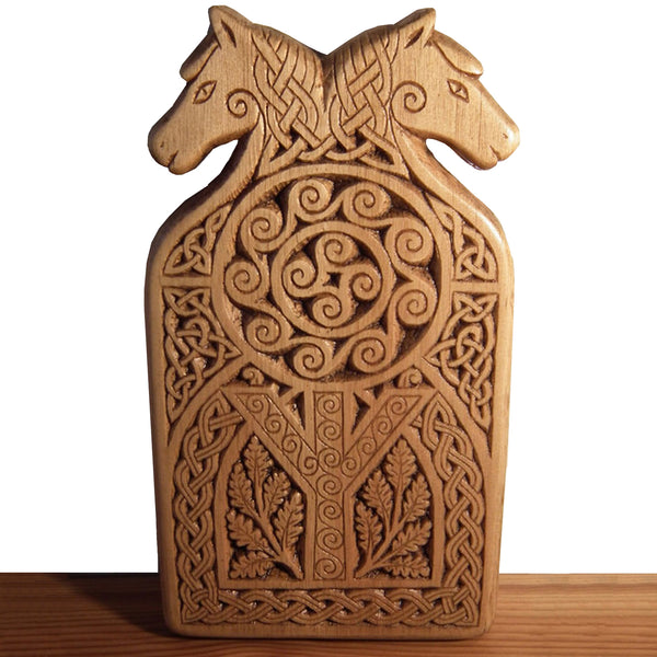 Carved Wood Algiz Rune