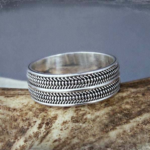 Anglo Saxon Wedding Band - Sterling Silver