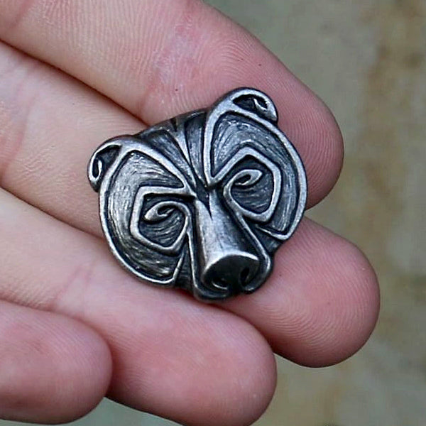 Bear Face Necklace - Pewter