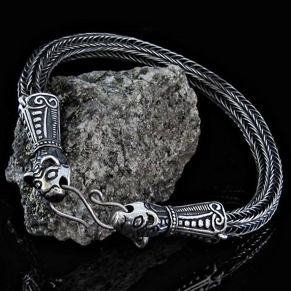 Borre Beast Bracelet - Viking Knit - Sterling Silver