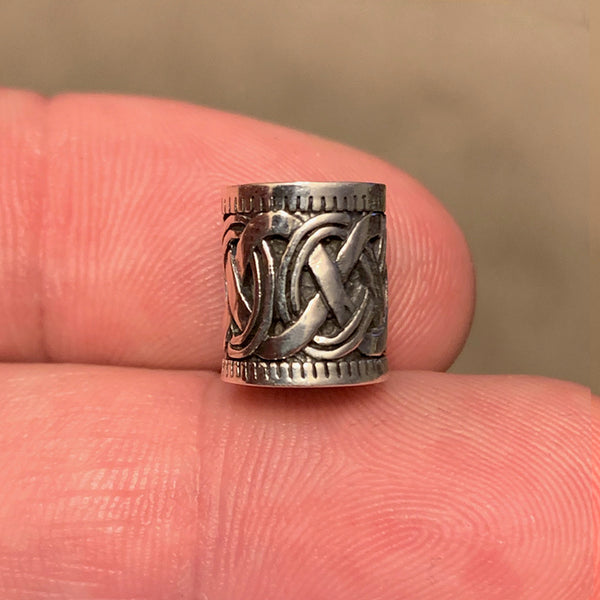 Braid Design Beard Bead - Sterling Silver