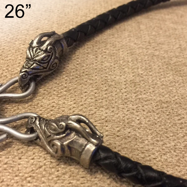 Braided Black Cord w Jörmungandr Heads