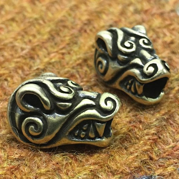 Bear Head Beard Bead - Bronze