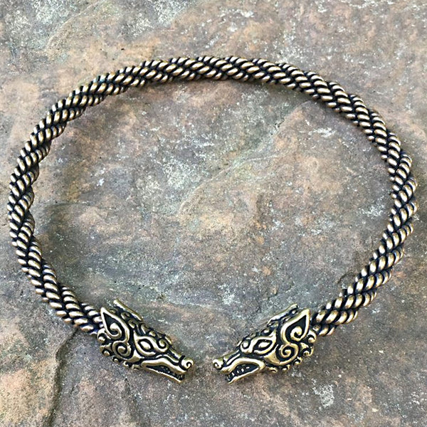 Bronze Wolf Torc - Heavy Braid