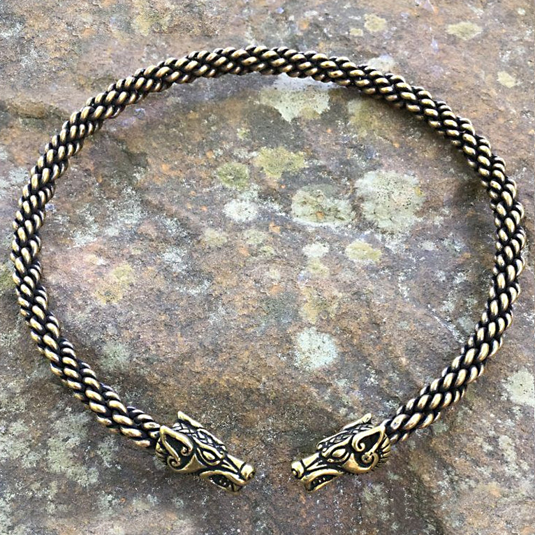 Bronze Wolf Torc - Medium Braid