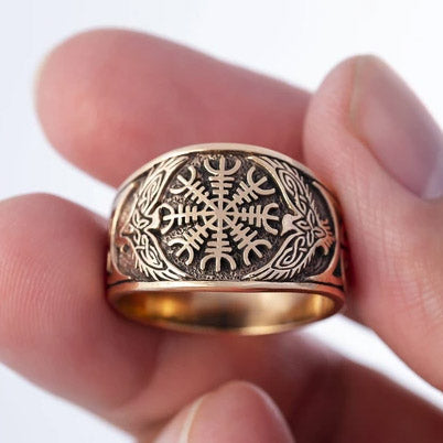 Helm of Awe and Ravens Ring - Bronze