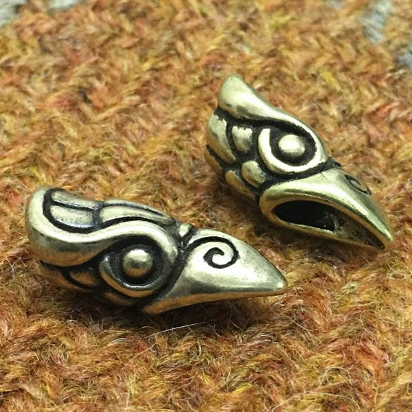 Raven Head Beard Bead - Bronze