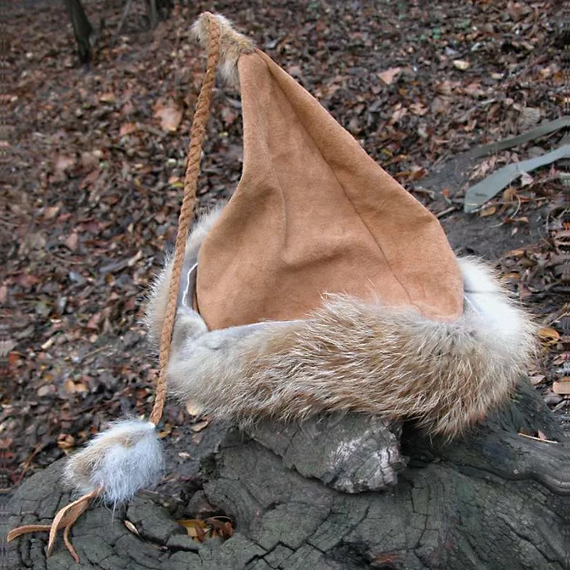 Brown Fox Fur Viking Hat - Leather