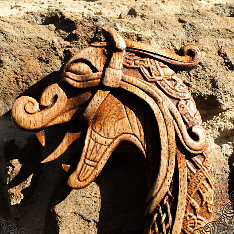 Carved Wood Drakkar Wall Hanging