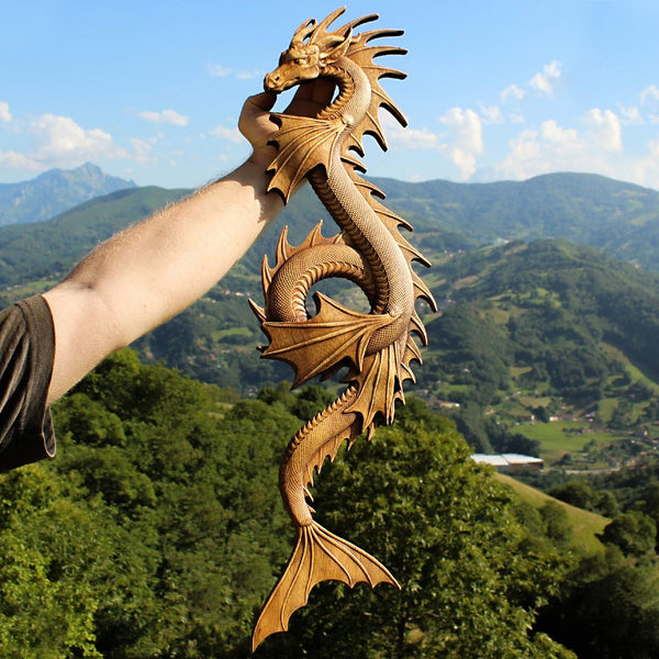Carved Wood Jormungandr