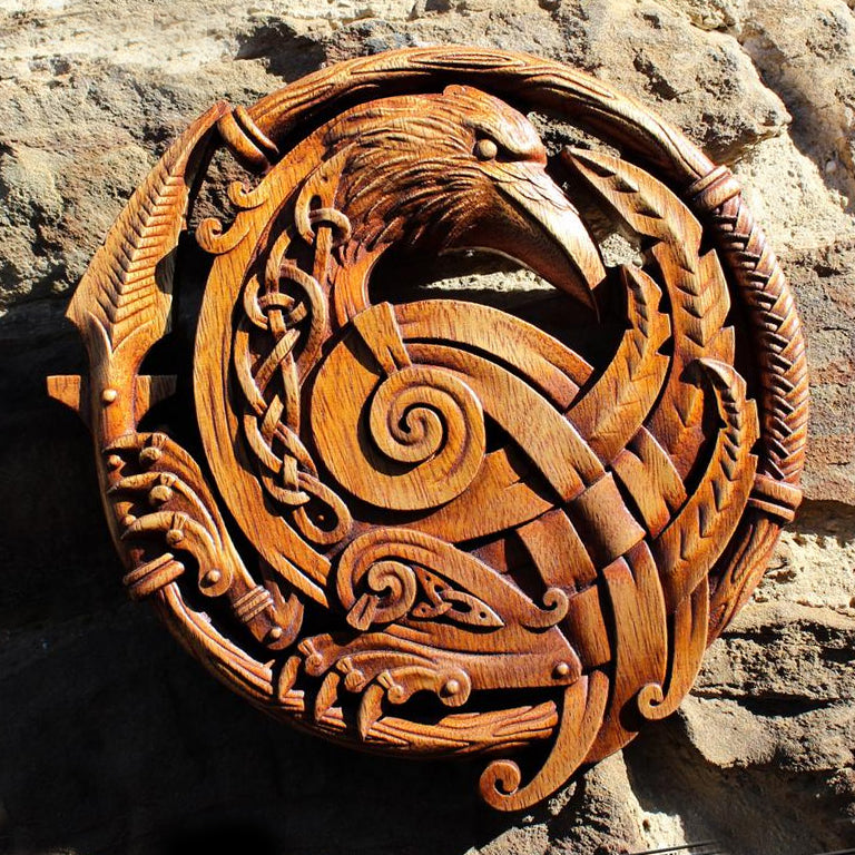 Carved Wood Norse Raven Wall Hanging