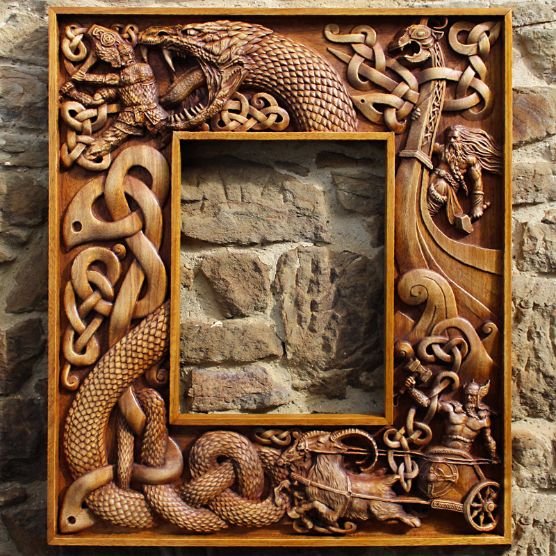 Carved Wood Thor Frame