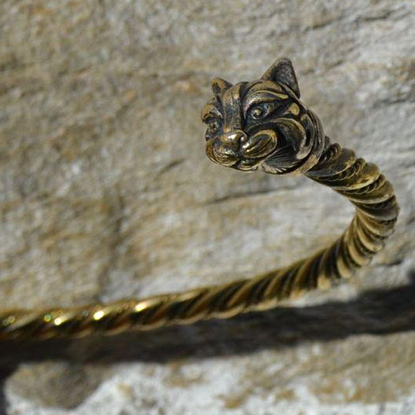 celtic cat torc necklace bronze