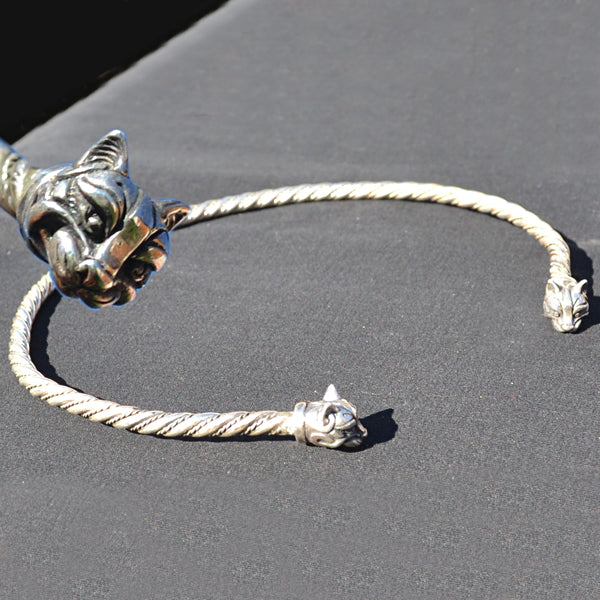 Celtic Cat Torc - Sterling Silver