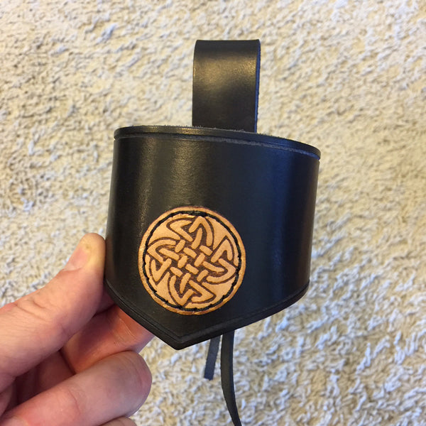 Celtic Knots Leather Drinking Horn Holder