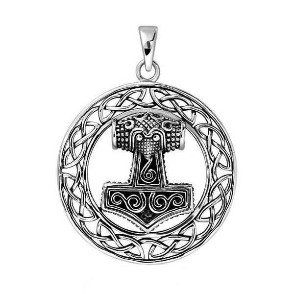Celtic Knots Mjolnir Pendant - Sterling Silver