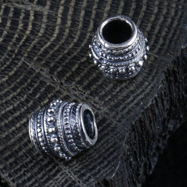 Concave Viking Beard Bead - Sterling Silver