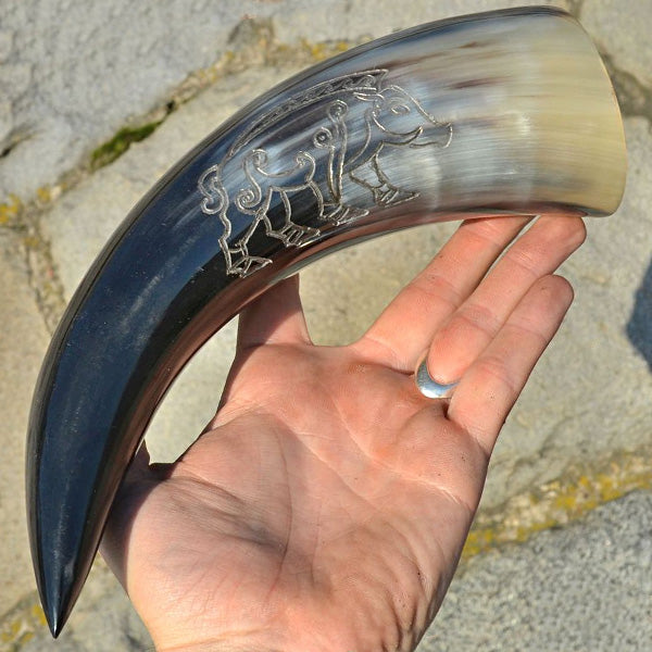 Celtic Boar Drinking Horn