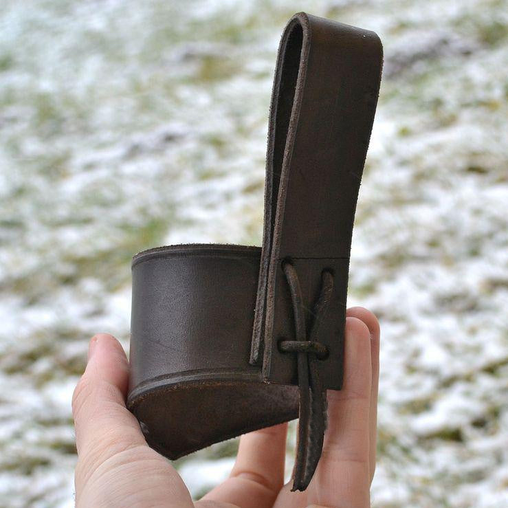 leather drinking horn holder brown
