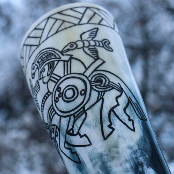Drinking Horn - Odin and Ravens