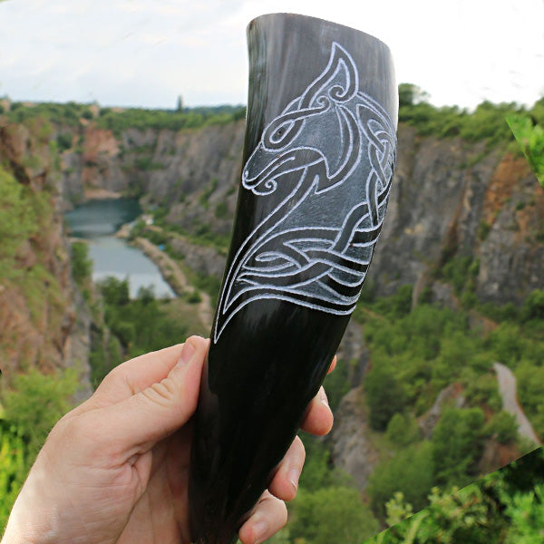 Drinking Horn - Viking Wolf