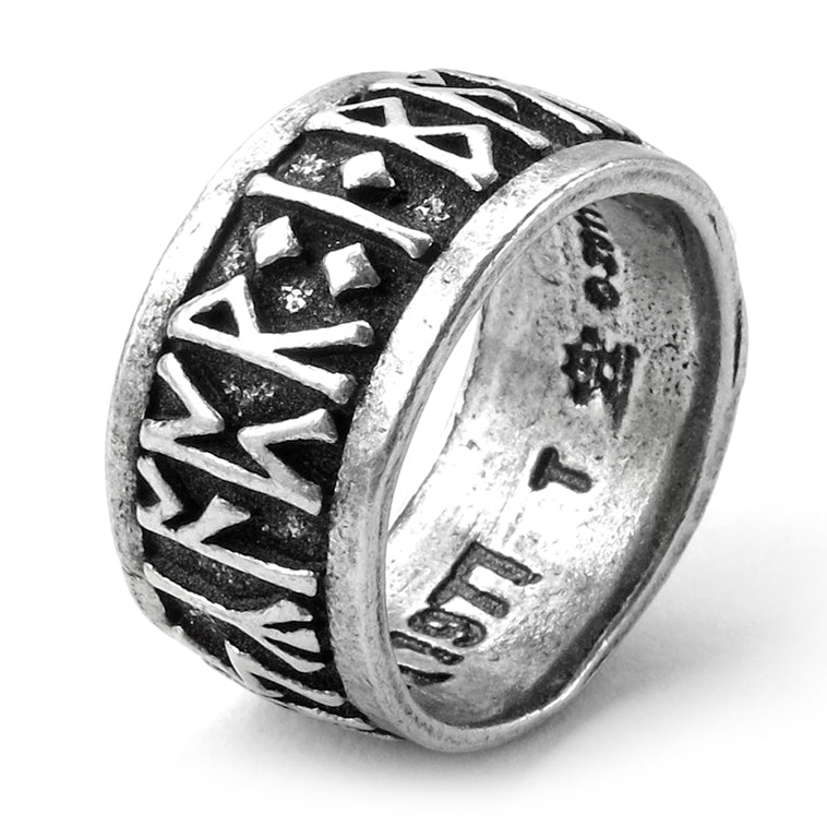 Extra Wide Rune Ring - English Pewter