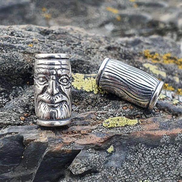 Face Beard Bead - Sterling Silver