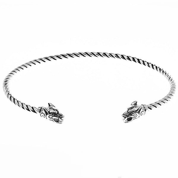 Sterling Silver Wolf Torc