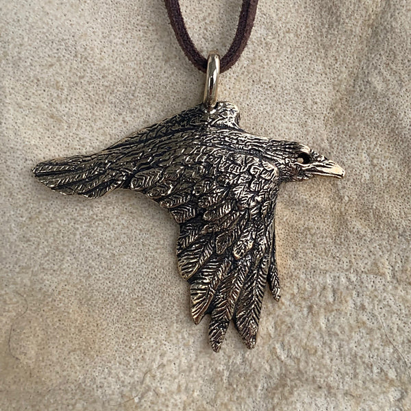 Flying Raven Pendant - Bronze or Silver