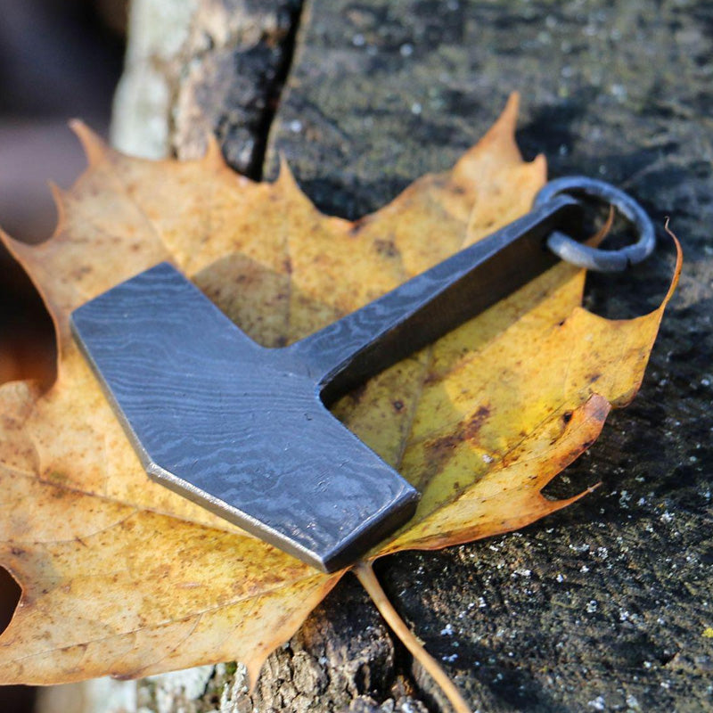 Hand Forged Damascus Steel Mjolnir