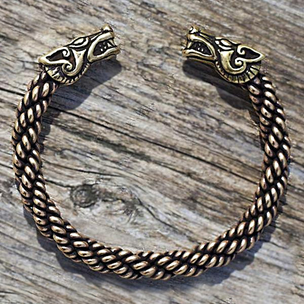 Freki and Geri Wolf Bracelet - Bronze