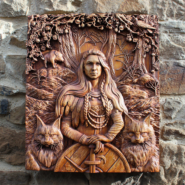Carved Wood Freya Wall Hanging