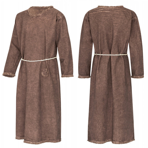 Girl's Brown Viking Dress - Cotton