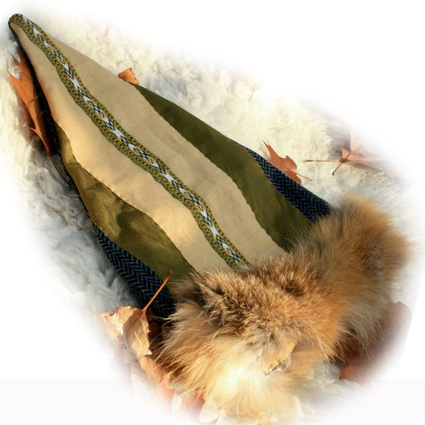 Green Fox Fur Viking Hat - Wool