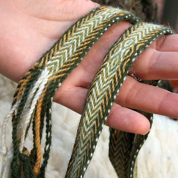Green Yellow Woven Belt - Wool
