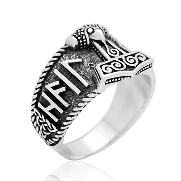 Hail Odin Mjolnir Ring - Sterling Silver