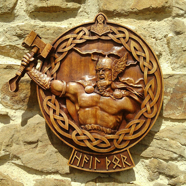 Carved Wood Hail Thor Wall Hanging