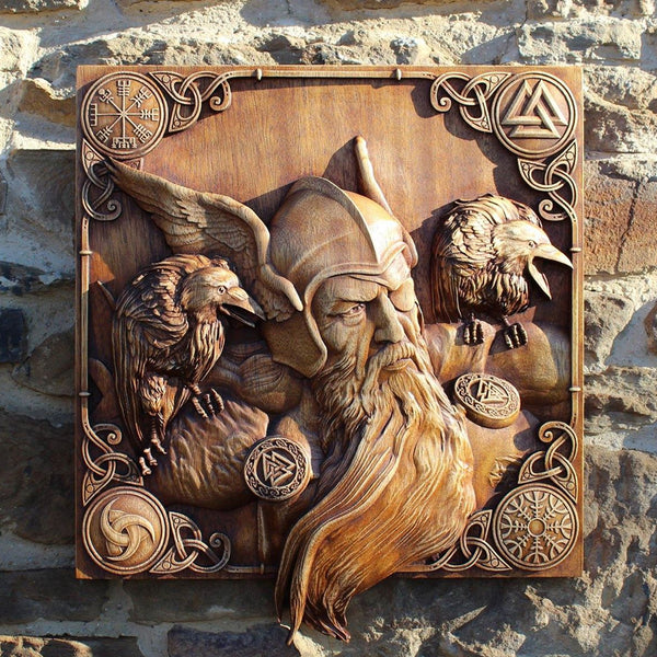 Carved Wood Odin Art