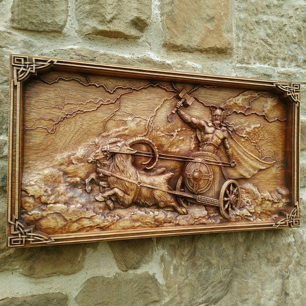 Carved Wood Thor Wall Hanging
